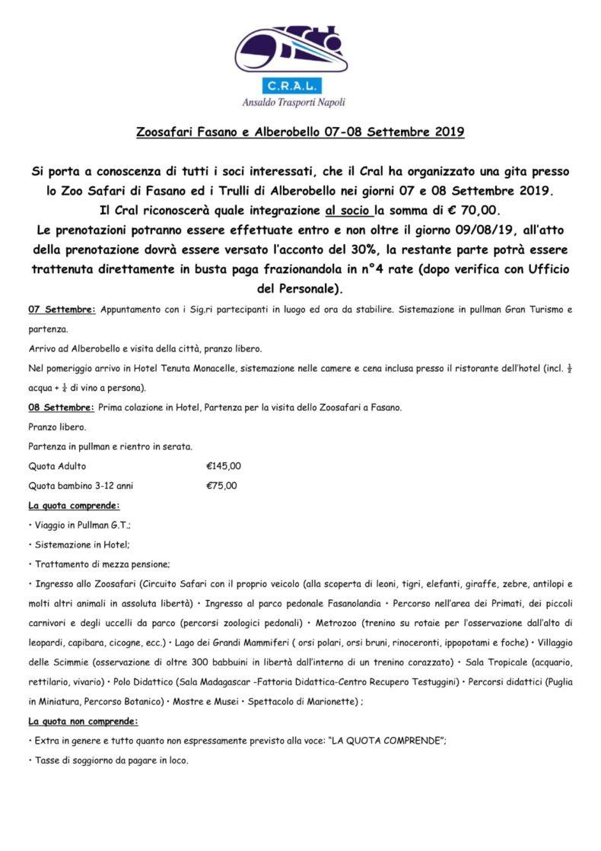 Comunicato: Zoo Safari di Fasano e Alberobello