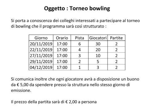 Comunicato Bowling